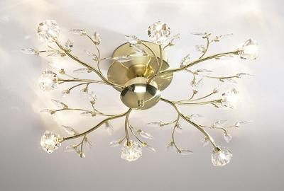 Modern French Gold Halogen Ceiling Light with Crystal Branches   lighting   neuhome