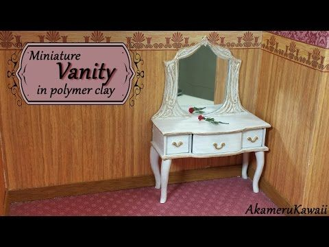 Miniature Doll Vanity Polymer Clay Tutorial Youtube Maison