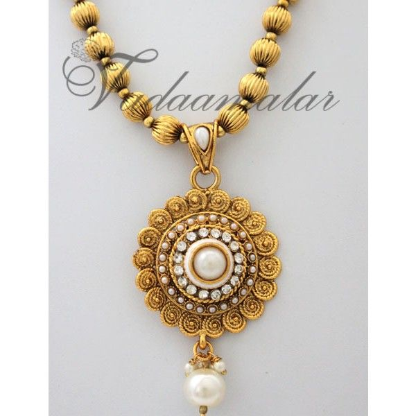 Pearl Design Pendant Chain Ethnic Indian Style Jewelry with earrings