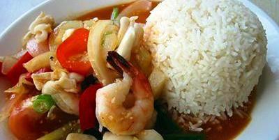 صيادين السمك روبيان بالصلصة الحلوة Food Rice Fish