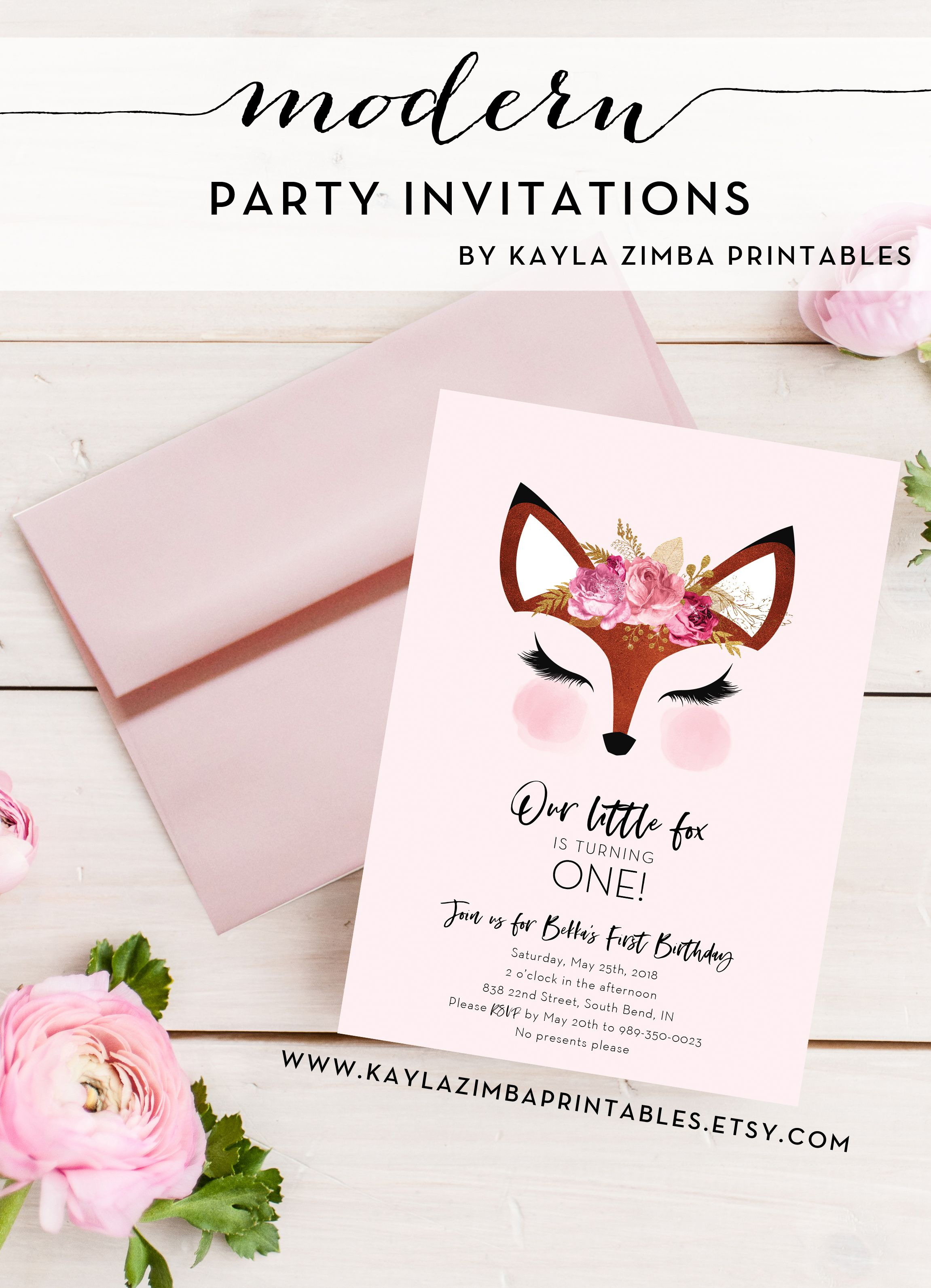 Our Little Fox Birthday Invitation Child Party Invite Girly Pink Girl Flower Crown Foxy Modern Blush