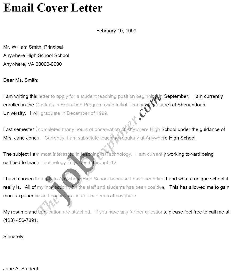 email cover letter sample for resumes