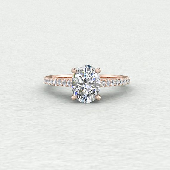 9x7mm Oval Cut Forever One Moissanite and Conflict Free Diamond with Scroll Shank Detailing 14k White Yellow or Rose Gold Engagement Ring