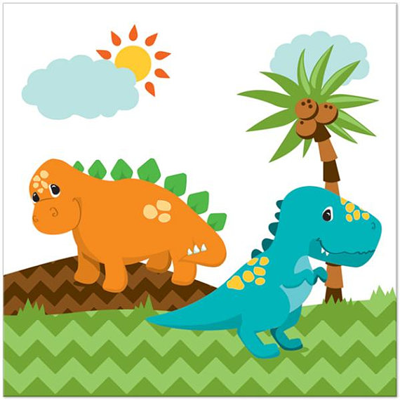 Little Dinosaur Party Paper Napkins Dino Lunch Napkins Kids