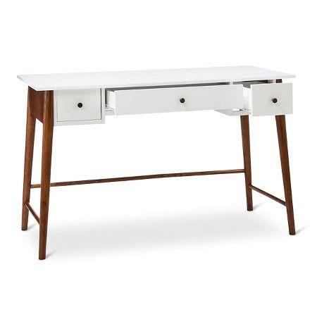 Porter Mid Century Modern Two Tone Writing Desk White