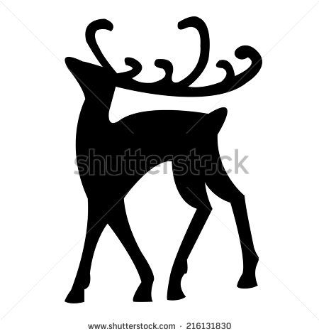 Christmas Reindeer Silhouette.Black Silhouette Of Christmas Reindeer Isolated On White