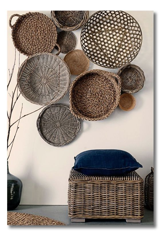Great List Of Ideas For Unorthodox Things To Hang On The Wall What To Hang On The Wall Besides Art And Photos Via Interi Baskets On Wall African Decor Decor