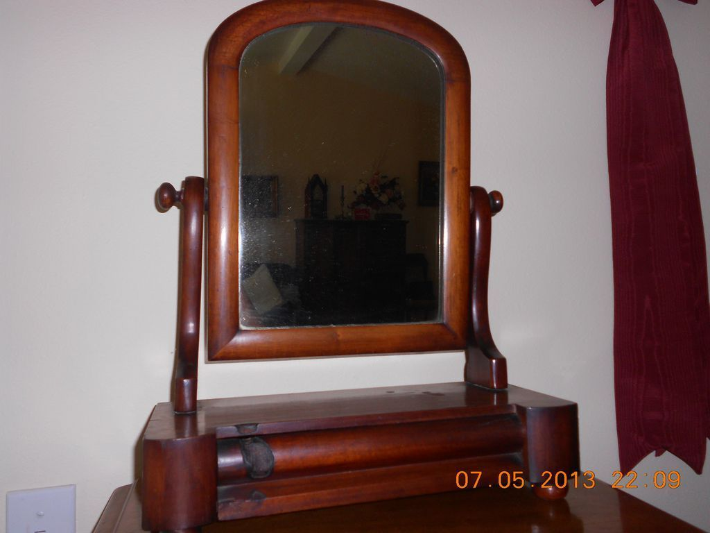 Antique Table Top Shaving Mirror With Drawer From Rubylane