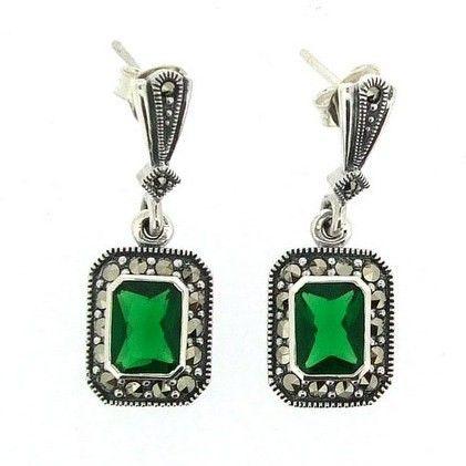 Silver Emerald Green Marcasite Earrings