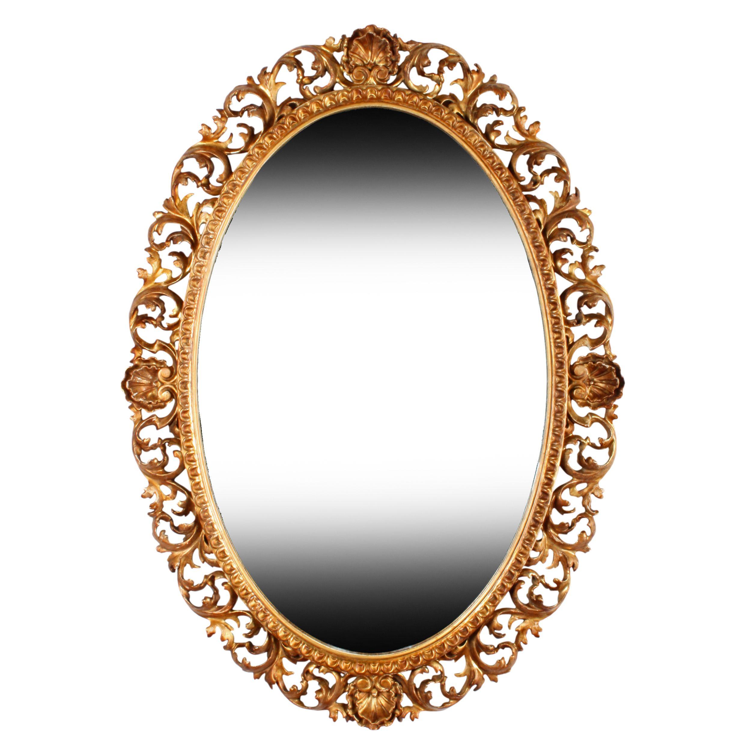 Florentine Dining Room: Oval Florentine Gilt Wood Mirror