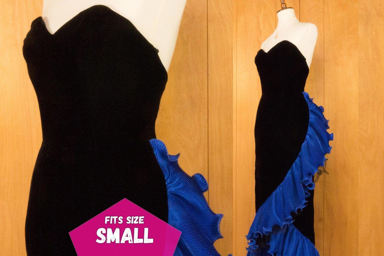 S blue ruffled black velvet prom dress evening gown small