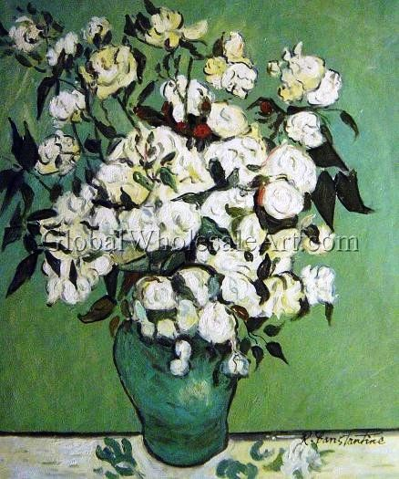 """""""Roses In A Vase"""" by Vincent Van Gogh. Oil painting from Global Wholesale Art. To shop this painting click here: http://globalwholesaleart.com/roses-in-a-vase-p-25599.html"""