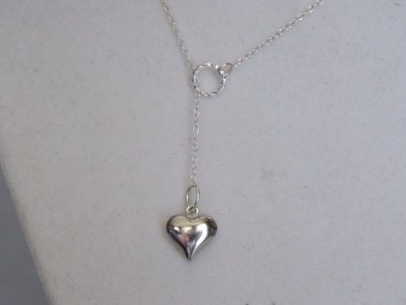 Silver Twisted Ring and Puffed Heart Lariat by treasuredheros1, $22.00 Great for Easter or Mother's Day. So elegant looking