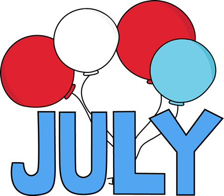 Free Month Clip Art | Red White and Blue July Clip Art Image - the ...