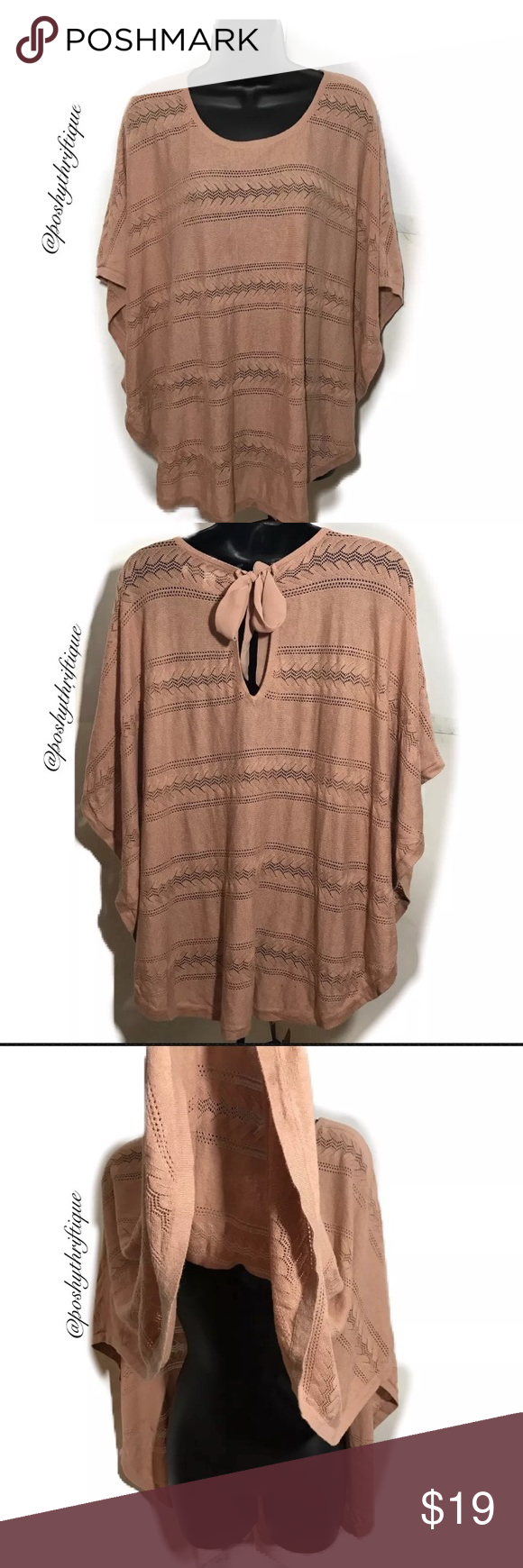 Lauren Conrad Mauve Poncho Cape Sweater S/M SIZE : s / m STYLE : oversized, cape poncho sweater with a keyhole tie closure on back. eyelet detail throught sweater. cotton blend with rayon ,thin knit,  BRAND : LC Lauren Conrad MATERIAL : 60% cotton 40% rayon COLOR : mauve, brown, light brown MEASUREMENTS: Length - Approx: 24.5 '' Across - Across: 35 '' CONDITION: In Excellent Pre Owned condition COUNTRY OF MANUFACTURER: china SMOKE FREE & PET FREE ENVIRONMENT All Items Are Steamed…