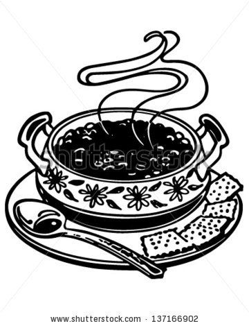 Bowl Of Chili Retro Clip Art Illustration With Images