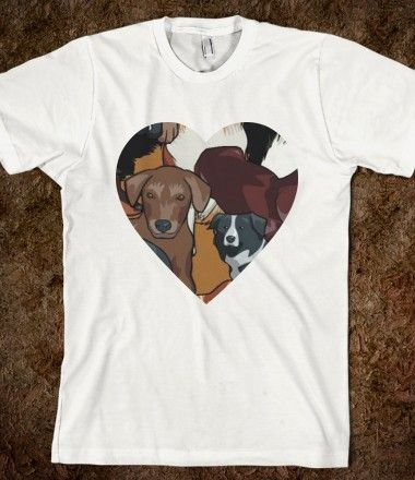 I heart dogs was the inspiration behind this design, find the perfect T-shirt and add this design. Done! order and it's yours in a few days.