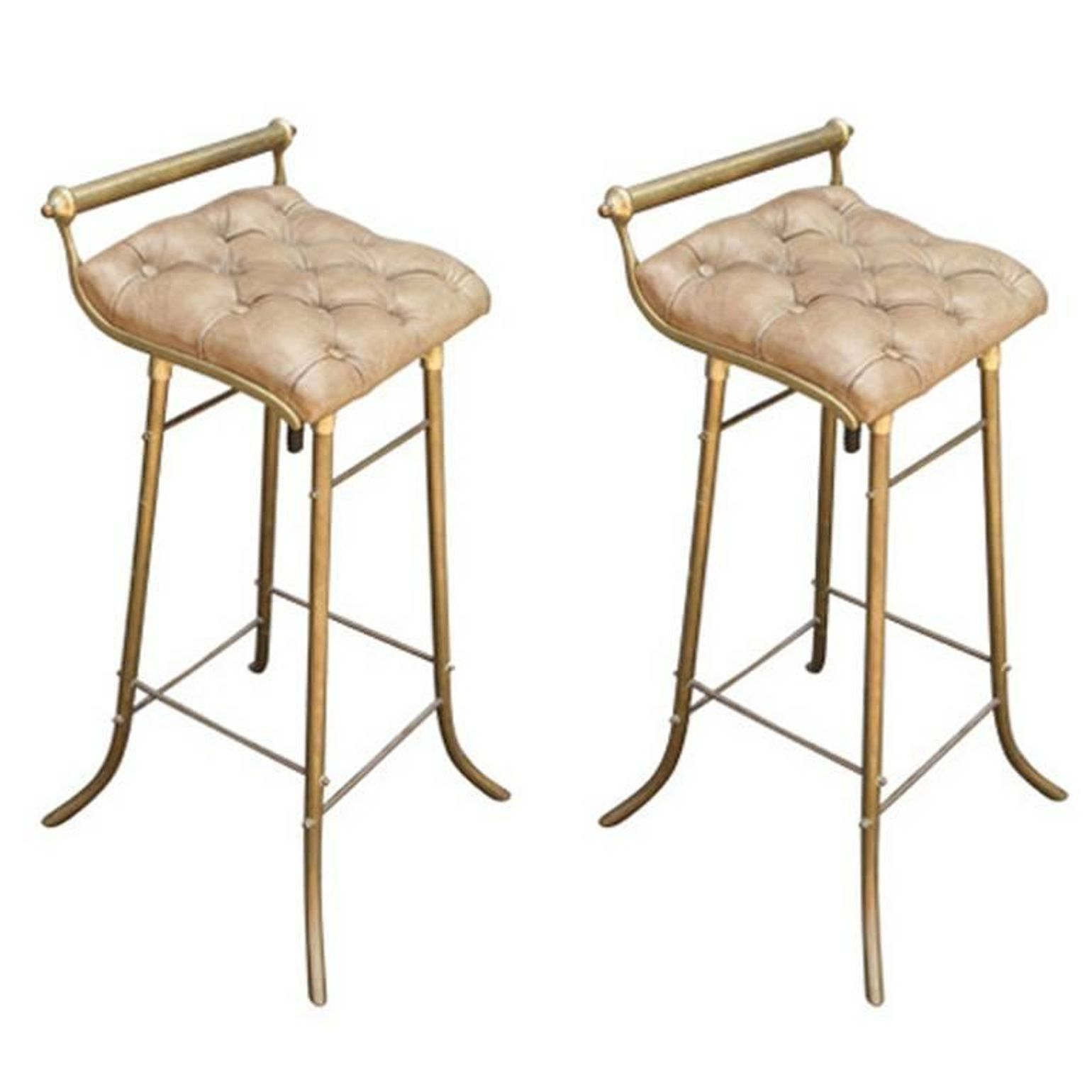 Pair Of French Leather And Brass Bar Stools Midcentury Modern
