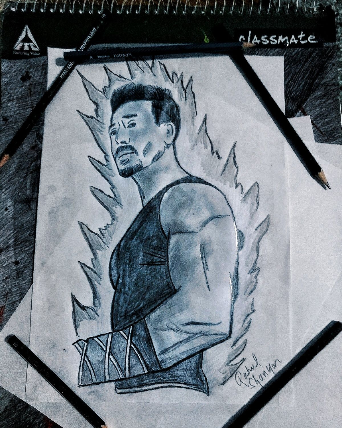 A Sketch Of The Famous Indian Bollywood Actor Tiger Shroff