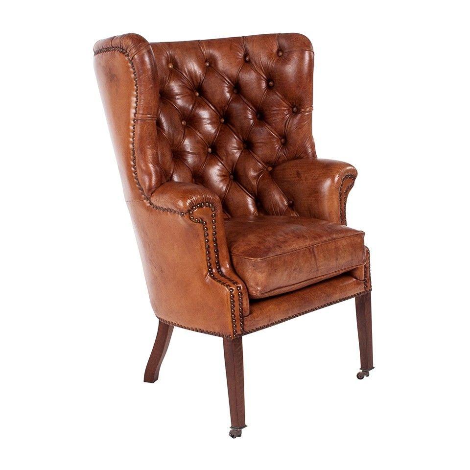 Chamberlain leather light brown chair chair mid century