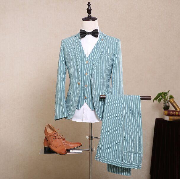 2017 Latest Coat Pant Designs Mint Green Stripes Men Suit Pattern ...