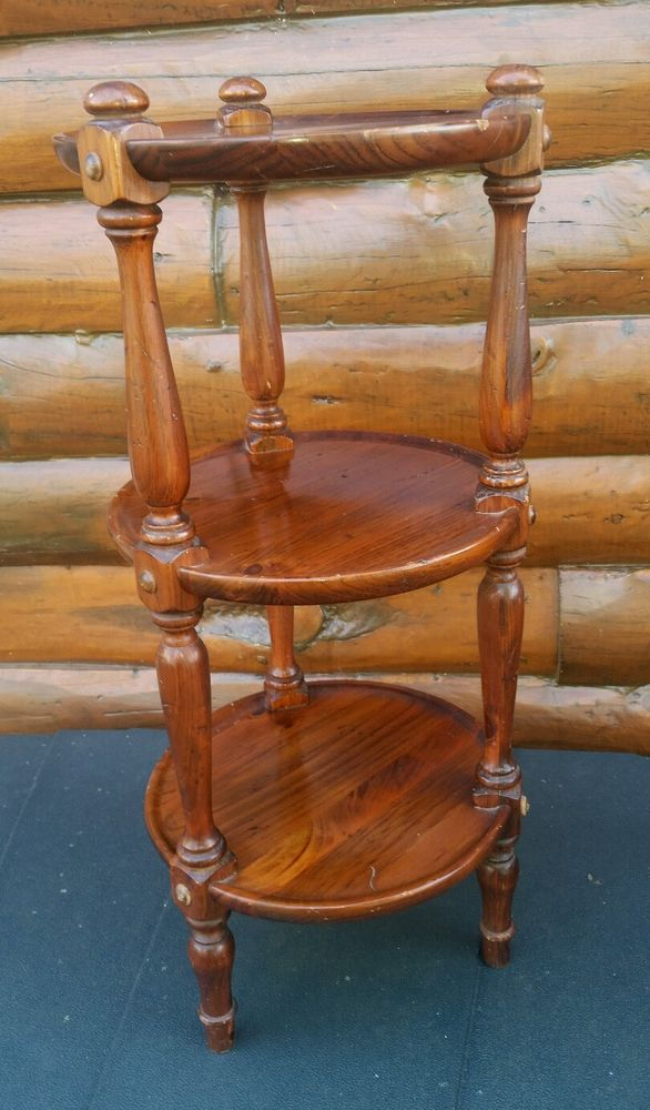 Vintage Ethan Allen Antiqued Old Tavern Pine Collection Round 3 Tier Stand Table Ethan Allen Furniture Tiered Stand Ethan Allen