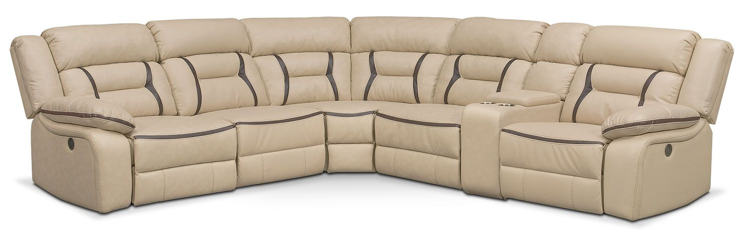 Power Comfort. Handsomely Dressed In Leather Like Quality, The Remi Power  Reclining Sectional