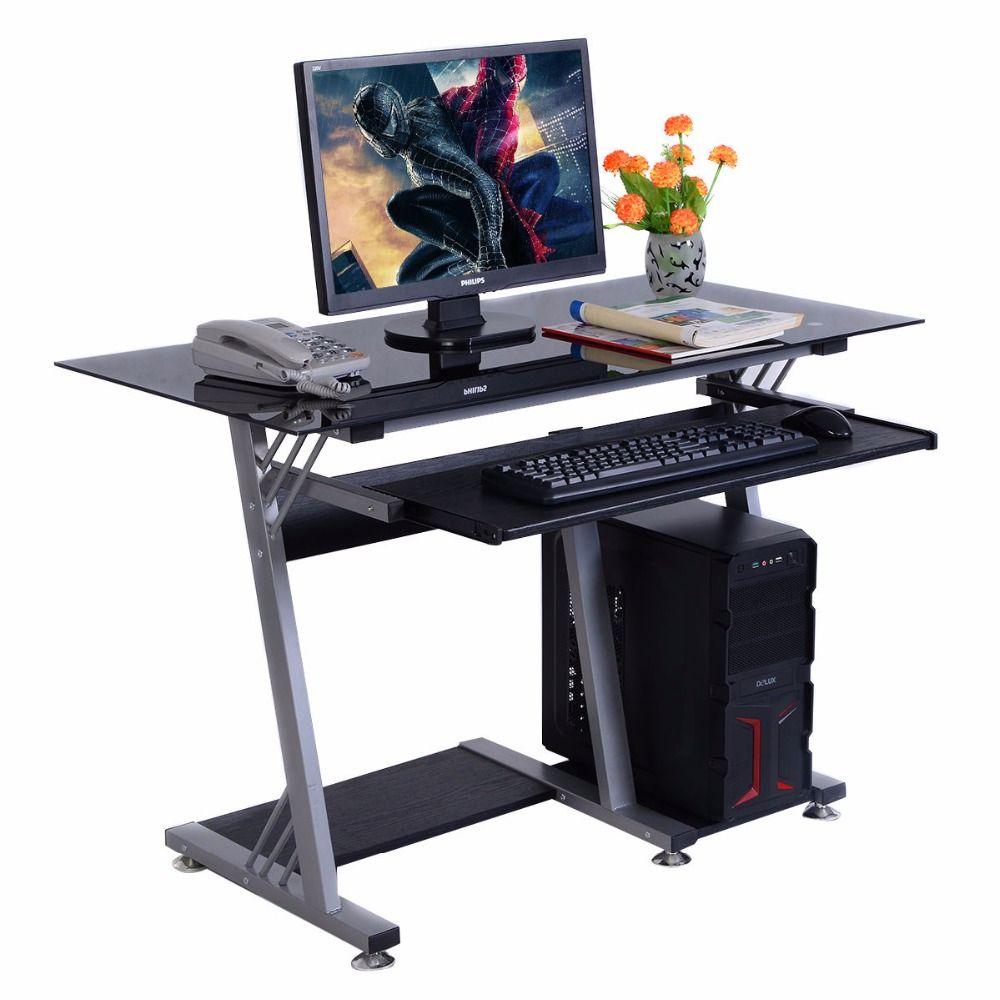 Goplus Glas Moderne Computer Schreibtisch Tisch Buromobel Tastatur Regal Neue Hw51359 Office Furniture Modern Modern Computer Desk Table Desk