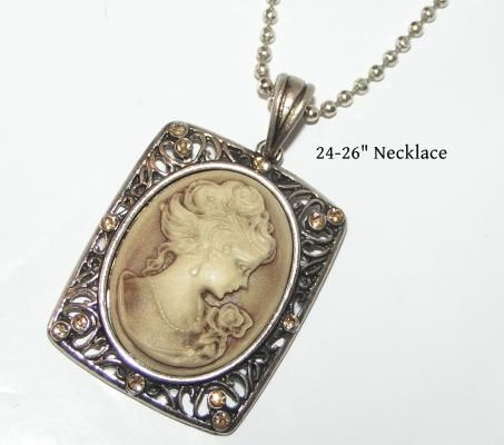 Beige Antique Cameo Necklace Free Shipping $12