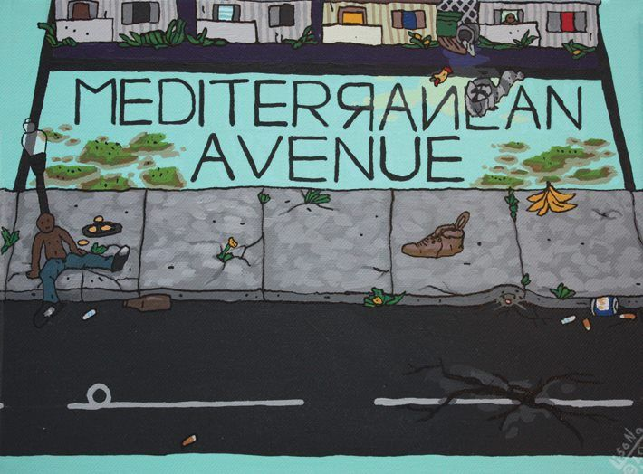 Mediterranean Avenue Acrylic And Ink On Canvas 12 X 9 X 15 Inches