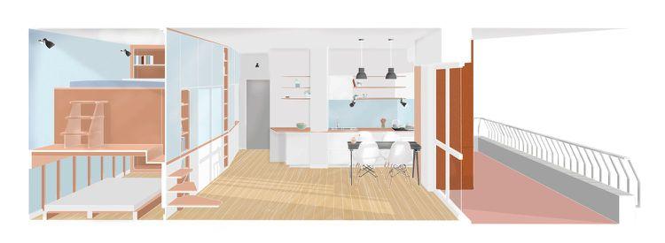 Wohnideen Apartment 35 quadratmeter wohnung grundriss querschnitt bedroom apartment