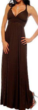Brown Maxi Boho Summer Halter Celeb Beach Party long Dress: Clothing