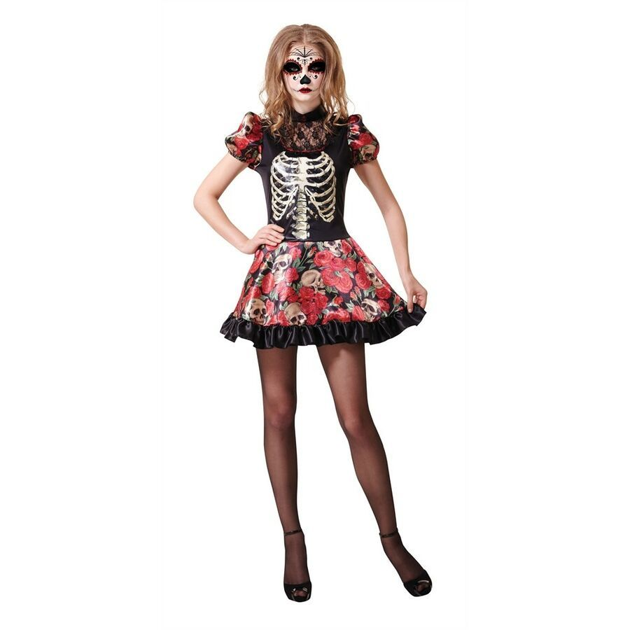 Ladies Day Of The Dead Doll Costume Fancy Dress Halloween Adult Skeleton