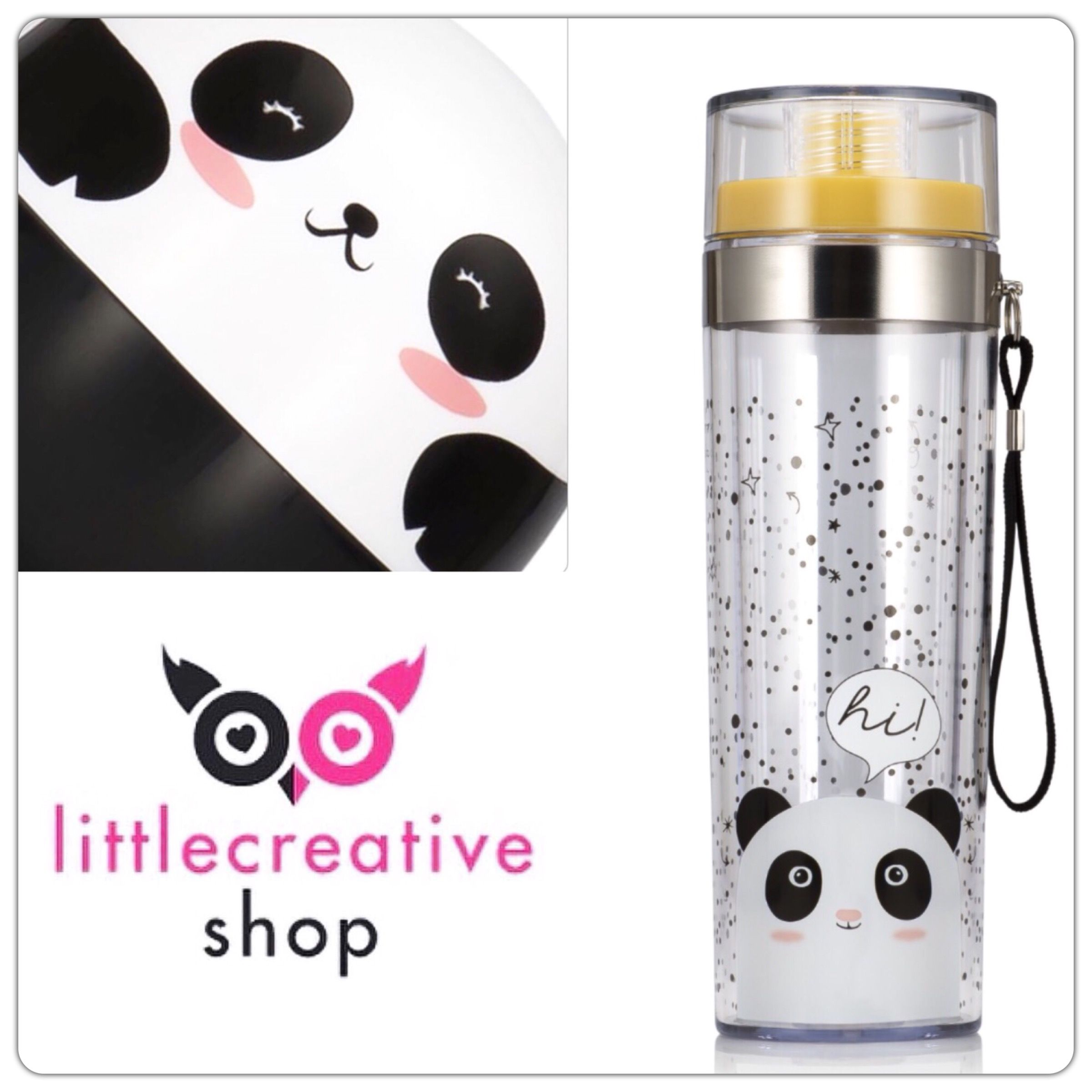 Deze Panda Drinkbeker is handig voor onderweg of voor op school! 💕🐼 we love panda's ⭐️ www.littlecreativeshop.nl #littlecreativshop #panda #drinkbottle #drinkbeker
