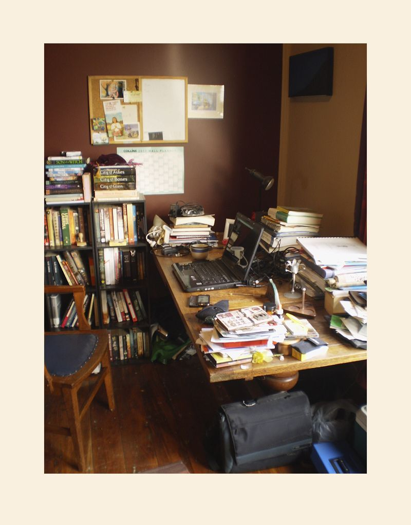 Writer and herbalist Joel Le Blancs desk in Christchurch New