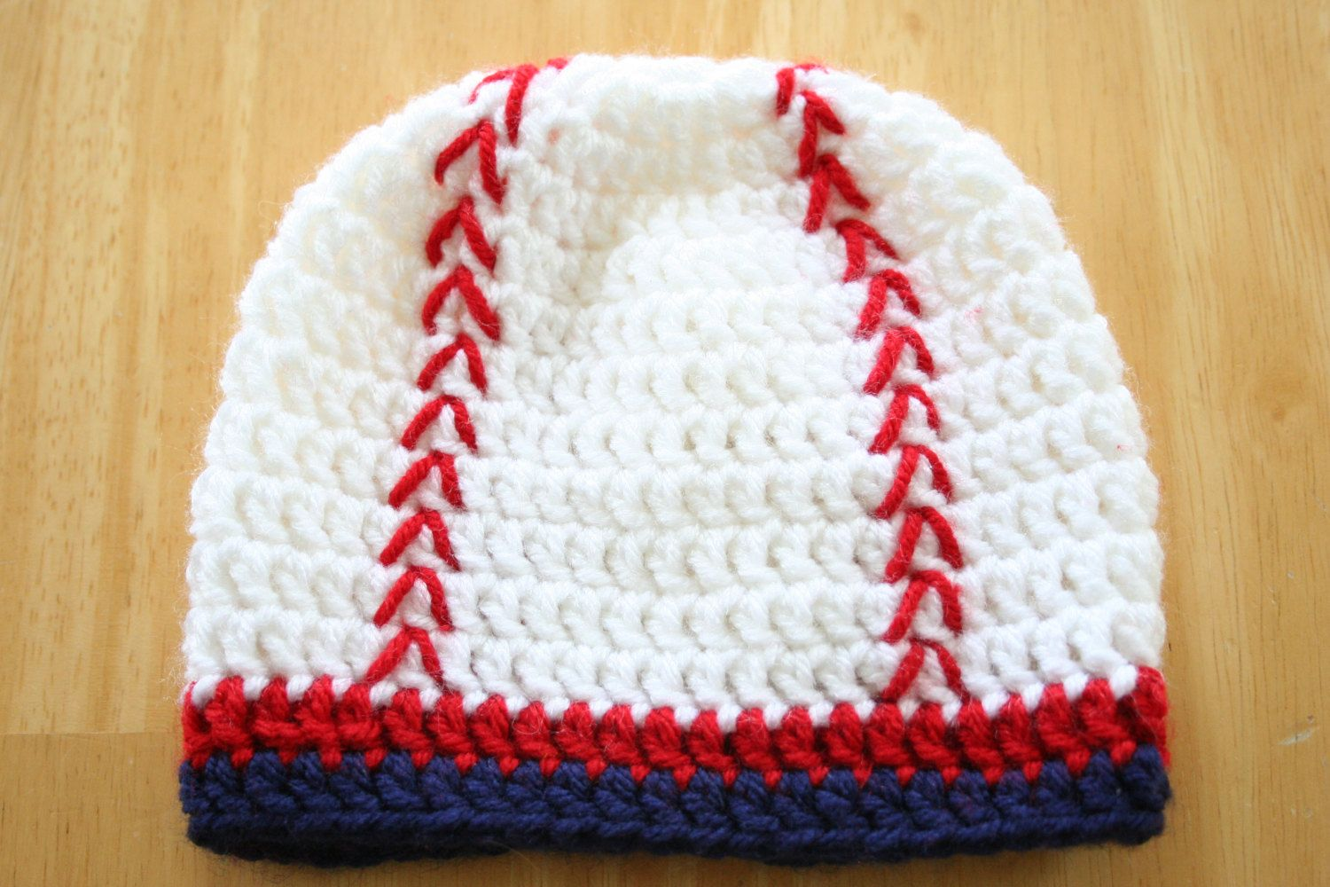 Baseball Hat, crochet, baby boy photo prop, red white and blue ...