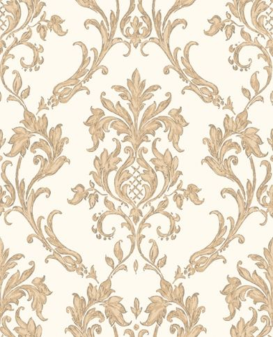 Rafaele (M0734) - Vymura Wallpapers - An elegant antique damask on a glittering background. Shown in traditional classic shades of gold - more colours available. Please request a sample for true match.