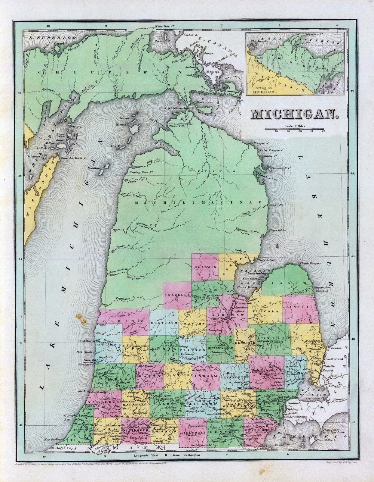 1840 Map, nothing happening past Gladwin | Michigan in 2019 ...