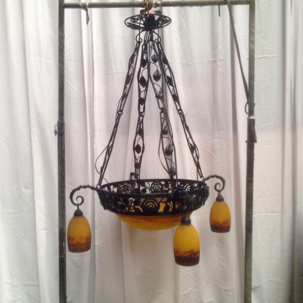 lustre art d co quatres tulipes muller fr res luneville monture fer forg xx lustre art d co. Black Bedroom Furniture Sets. Home Design Ideas