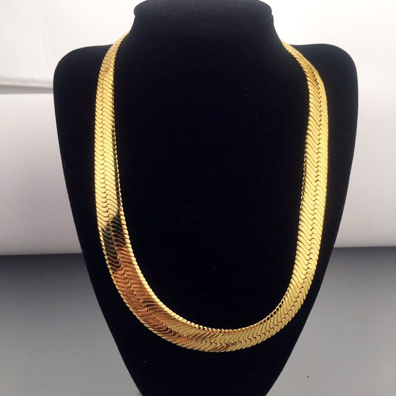Click To Buy High Quality 75cm 10mm Hip Hop Mens Herringbone Chain Golden Necklace Rapper Chunky Gold Herringbone Chain Gold Chains For Men Dream Jewelry