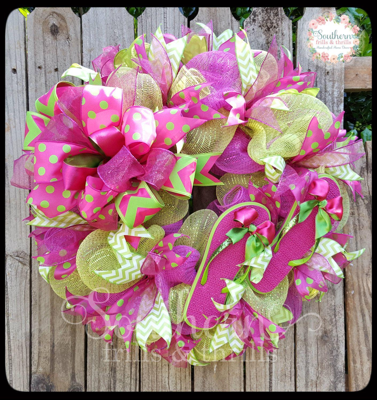 Summer Wreath, Flip Flop Wreath, Mesh Wreath, Front Door Wreath, Outdoor  Wreath