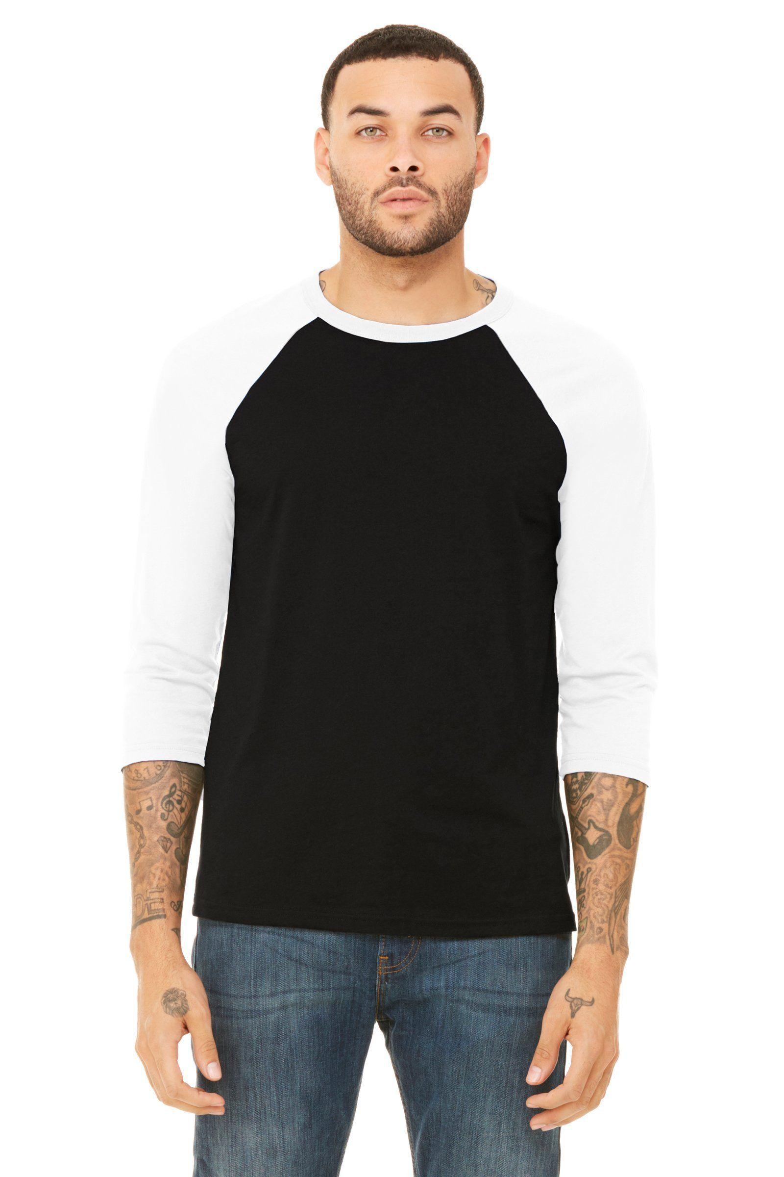5f1814c4d Bella + Canvas Unisex 3/4-Sleeve Baseball T-Shirt 3200 Black/ White ...