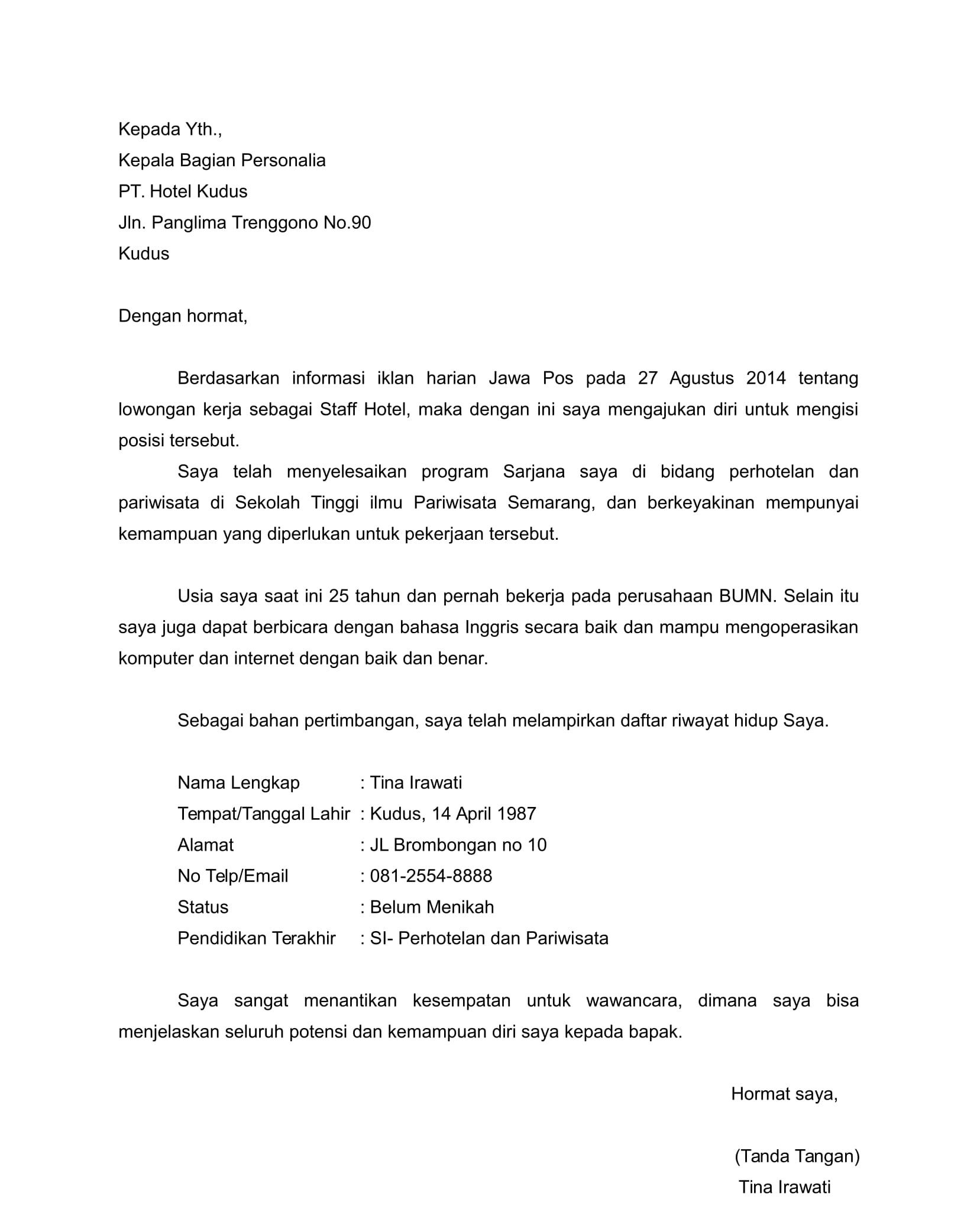 Contoh Surat Lamaran Pekerjaan Berdasarkan Iklan Jawa Pos Id Lif Co Id