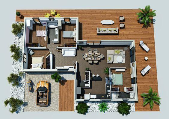 Plano 3d casa de una planta y tres dormitorios en 90 metros - construire sa maison 3d
