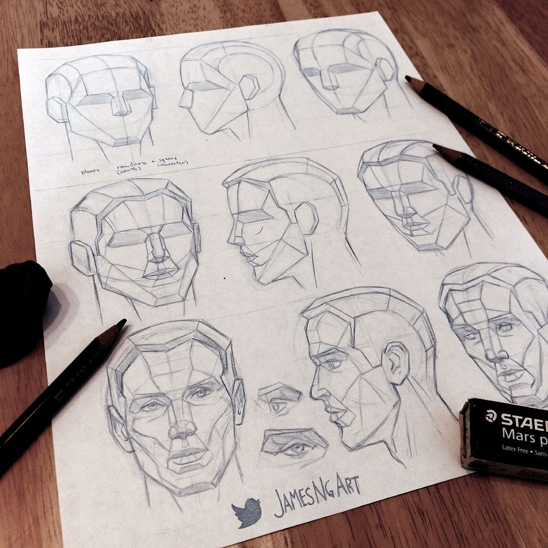 Drawing the head in planes. #Sketch #Anatomy If you like the art ...