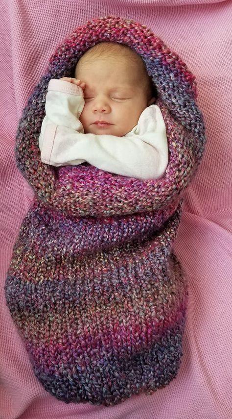 Knitted Newborn Baby Cocoon, Baby Swaddle Blanket, Newborn Photo ...