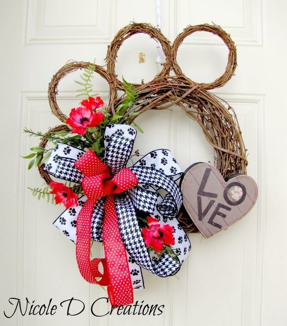 Photo of Articles similar to Paw Grapevine Wreath- Grapevine Paw Wreath for the front door- Everyday Wreath- …