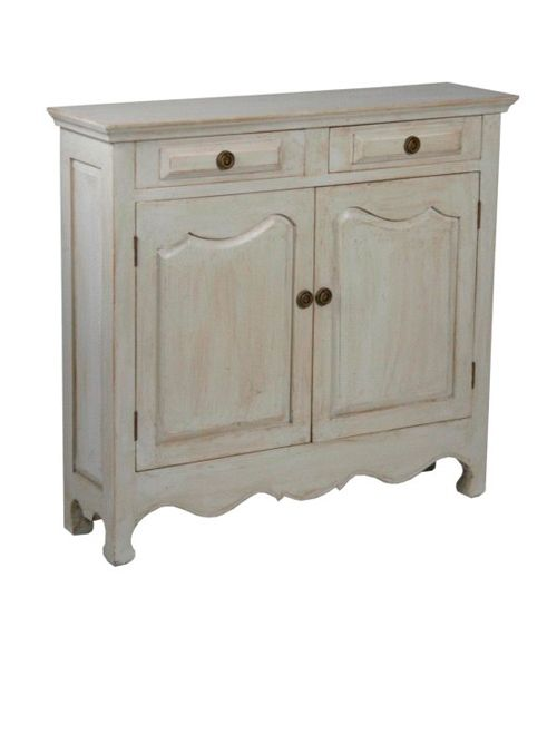 Margaux french grey dresser with antique finish. 2 drawers above and 2 cabinet doors below.