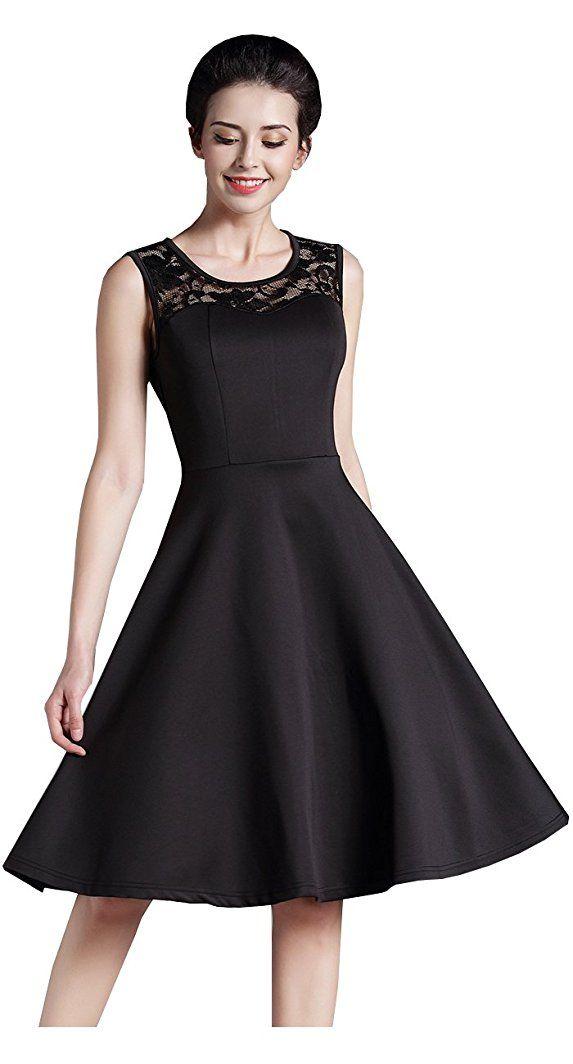 HOMEYEE Damen Elegant Spitze Rundhalsausschnitt Ärmel Mesh-A-Linie Kleid  UKA008  - silvester 0697205f65