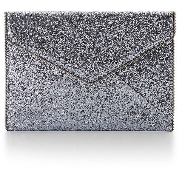 Rental Rebecca Minkoff Handbags Silver Leo Clutch ($15) ❤ liked on Polyvore featuring bags, handbags, clutches, silver, silver handbag, glitter purse, glitter clutches, envelope clutch and glitter handbags